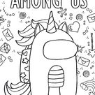 Among Us Unicorn Coloring Page - Free Printable Coloring Pages for Kids