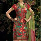 Green & Red Pure Crepe Indian Salwar Kameez