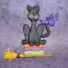 Black Cat Christmas Ornament Kitty Spell CookBook Witches Broom Bat Polymer Clay Halloween Cake Topper Lizard Worm Recipe Potion  Costume