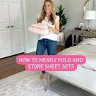 Folding hacks for bedding. How to fold sheets. Bathroom organization. Organizing tips.