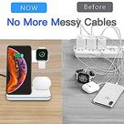 DONGSHIN Wireless Charger 15W Fast Wireless Charger Stand 3 in 1 QI Fast Charging Station for Apple Watch Series 6/SE/5/4/3/2;AirPods 1/2/Pro;iPhone 12/12 Pro/11/XS/X/8/8 Plus;Samsung Galaxy Buds/S20