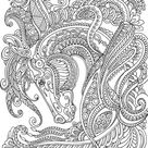 Graceful Horse  Printable Adult Coloring Page from Favoreads | Etsy