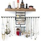 Amazon.com: Jewelry Organizer Wall Mounted Rotating Jewelry Holder Hanging Storage Display for Necklaces Bracelet Earring Ring (Carbonized Black) : Home & Kitchen