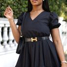 Black Poplin Dress Gathered Hem