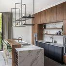 Houten keuken met marmer - Hoog ■ Exclusieve woon- en tuin inspiratie.