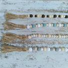Teal/White/Natural Wood Bead Garland
