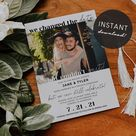 We Changed The Date, But Couldn't Wait! Printable Wedding Postponement Announcement, Instant Download, Digital File, DIY Editable Template