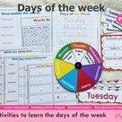 Days of the Week Activity Printable, Days Wheel, Days Flashcards, Days of week Worksheets, Yesterday Today and Tomorrow Matching Activity