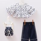 Toddler Baby Girl 4 Piece Set Summer Outfit in White & Navy Blue