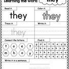 High-Frequency Word THEY Printable Worksheet