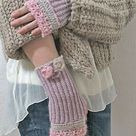 Giveaway: Handstulpen mit Perlchen und feiner Häkelspitze * Anleitung * Giveaway : fingerless gloves with sequins, pailletts and crochet lace & Tutorial