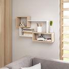 Hängendes Bücherregal TIRI 5 in der Farbe Weiss matt/Eiche sonoma 87 cm