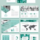 Annual Report Layout with Teal Geometric Elements - Brochure Templates