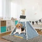 Tucker Murphy Pet™ Pet Teepee, Large Dog Teepee Bed w/ Thick Cushion, 24/28 Inch Tall, Portable Washable Teepee Tent For Dogs Puppy, Cat & Rabbits