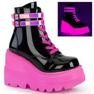 4 Inch Wedge SHAKER 52 Black Patent UV Neon Pink   6 / Neon Pink