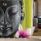Buddha and Lotus Flower Shower Curtain