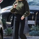 Kendall Jenner Black Leather Sneakers Street Style Malibu 2020 on SASSY DAILY