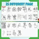 25 Mario Coloring Pages, Mario Coloring Book, Birthday Coloring Activity, KDP Super Mario Game Coloring Sheets for Kids and Toddlers