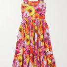 Orange Button-embellished floral-print cotton-poplin midi dress | DOLCE & GABBANA