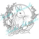 Coloring page Line art Cute Spring Rabbit  PDF download and | Etsy