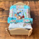 Vintage, 1:12th Scale, Dolls House, Wooden, Single, Bed, With, Beatrix Potter, Patchwork Quilt, Peter Rabbit, Miss Tiggy Winkle, Bedding Set