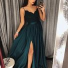 Popular Teal Long Side Slit Prom Dress,Evening Dress with Black Bodice,GDC1094 - Default Title