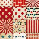 Circus Vintage Patterns Digital Paper Pack