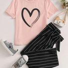 Girls Heart Print Tee & Belted Striped Pants Set - 7Y / Multicolor