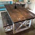 Rustic Farmhouse Table With Benches with Dark Walnut Top and Weathered White Base and Cross Brace Design