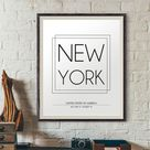 New York Poster, New York City Print, City Names Print, DIGITAL PRINT, City Poster, Modern Wall Deco