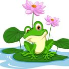 Funny Green Frog Cartoon Sitting On A Leaf Stock Illustration - Illustration of smile, humor: 51615267