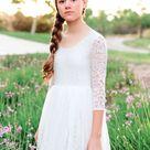 Bohemian Boho Flower girl dress , White Lace Tulle Girl Dress, Lace flower girl dress, Rustic flower girl dress,Communion dress,Bianca Dress