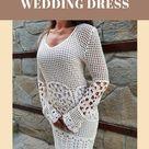Beach wedding dress for women, Boho style crochet dress, Long sleeve cotton dress