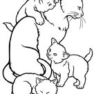 Color the Mommy Cat and Kittens   Worksheet   Education.com