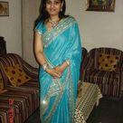 Desi Girl and Indian in Sky Blue Saree