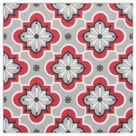 Moroccan tile pattern - Grey and Red Fabric