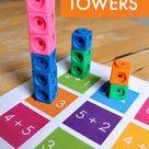 Math towers - unit block addition activity printables - NurtureStore