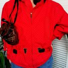 Vintage 90s red chess print hooded jacket