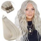 [Remy Hair] Tape in hair Extensions All Pure Color Hairs Black Brown Blonde - #1000 Light Blonde / 22inch