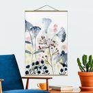 Stoffbild mit Posterleisten - Wildblumen Aquarell I - Hochformat 3:2