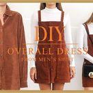 DIY Overall dress - Transform Men's shirt into Overall dress - Fall outfit idea 2019