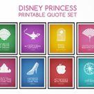 Disney Princess Prints Set  Disney Quote Print  Nursery Wall   Etsy