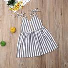 Striped Stella Dress - Gray/White / 4-5 Toddler