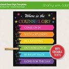 School Door Sign Template, Personalized Name Sign, Where is the Counselor Door Sign, Classroom Door sign Printable, Custom Office Door Sign