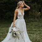 A Line V neck Vintage Wedding Dresses See Through Wedding Gowns SED353