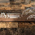 Personalized motorcycle desk name plate and business card holder.  Maple, Walnut, Cherry, Acrylic.