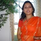Indian desi women in orange saree