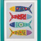 Modern Cross Stitch/needlepoint Chart Portuguese Fish | Etsy