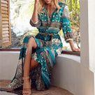 Summer Style Floral Printed Bohemian Beach Dress Women Elegant Deep V Neck Split Long Maxi Dress Vintage Chiffon Dress   Wish