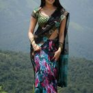 Pranitha Subhash in green black and blue saree